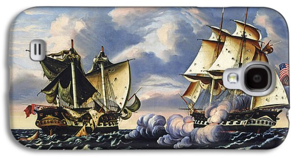 Frigates Paintings Galaxy S4 Cases - Capture of HBM Frigate Macedonian by US Frigate United States Galaxy S4 Case by Thomas Chambers