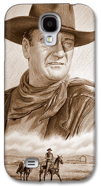 John Wayne Drawings Galaxy S4 Cases - Captured sepia Galaxy S4 Case by Andrew Read