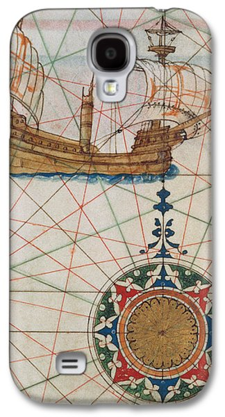 Sailboats Drawings Galaxy S4 Cases - Caravel in ocean Galaxy S4 Case by Lazaro Luis