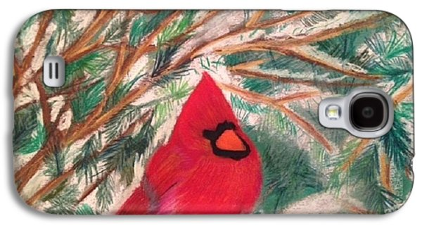 Winter Scene Pastels Galaxy S4 Cases - Cardinal in the Snowy Pines Galaxy S4 Case by Renee Michelle Wenker