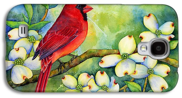 Singing Paintings Galaxy S4 Cases - Cardinal on Dogwood Galaxy S4 Case by Hailey E Herrera