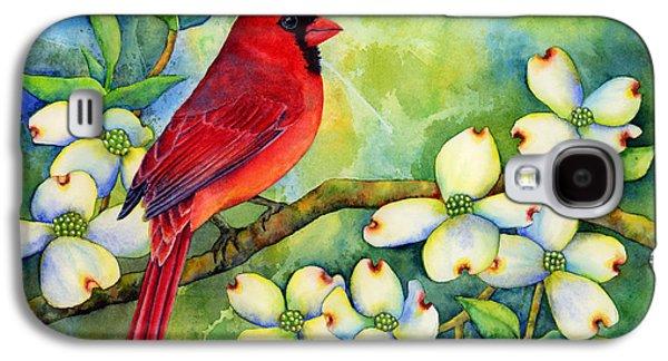Singing Galaxy S4 Cases - Cardinal on Dogwood Galaxy S4 Case by Hailey E Herrera