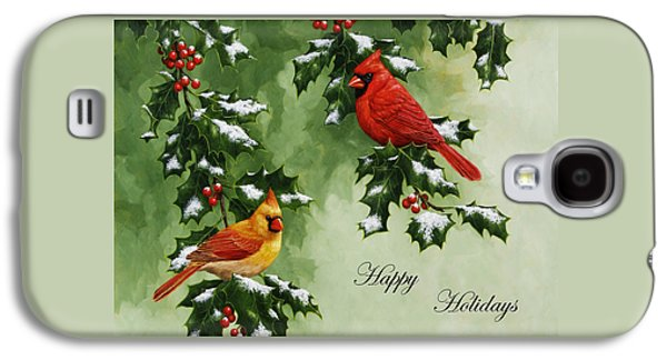 Christmas Greeting Galaxy S4 Cases - Cardinals Holiday Card - Version with snow Galaxy S4 Case by Crista Forest