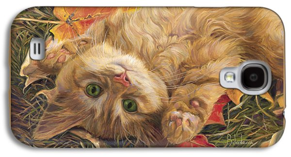 Orange Tabby Paintings Galaxy S4 Cases - Carefree Galaxy S4 Case by Lucie Bilodeau