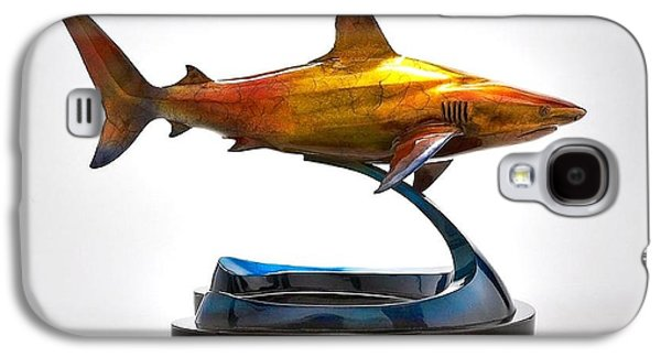 Sharks Sculptures Galaxy S4 Cases - Caribbean Reef Shark Galaxy S4 Case by Victor Douieb