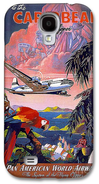 Modern Drawings Galaxy S4 Cases - Caribbean Vintage Travel Poster Galaxy S4 Case by Jon Neidert