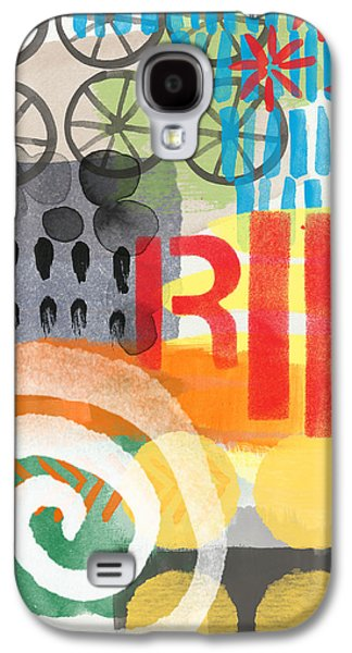 Abstract Nature Galaxy S4 Cases - Carousel #6 RIDE- Contemporary Abstract Art Galaxy S4 Case by Linda Woods