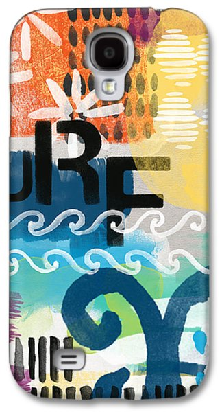 Abstract Rain Galaxy S4 Cases - Carousel #7 SURF - contemporary abstract art Galaxy S4 Case by Linda Woods