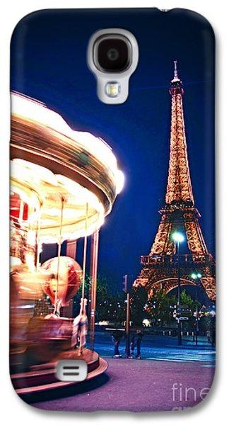 Brightly Galaxy S4 Cases - Carousel and Eiffel tower Galaxy S4 Case by Elena Elisseeva
