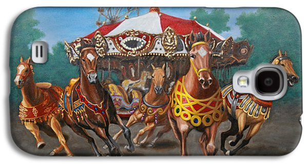 Carousel Horse Paintings Galaxy S4 Cases - Carousel Escape at the Park Galaxy S4 Case by Jason Marsh
