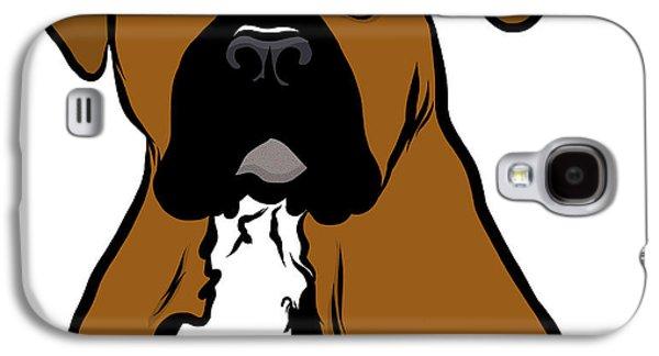Puppies Digital Art Galaxy S4 Cases - Cartoon Boxer Galaxy S4 Case by Rachel Barrett
