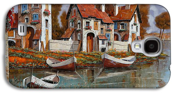 Village Paintings Galaxy S4 Cases - Case A Cerchio Galaxy S4 Case by Guido Borelli