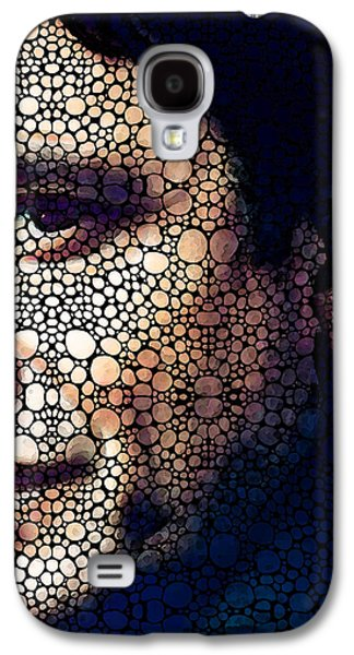 Face Mixed Media Galaxy S4 Cases - Cash Tribute - Stone Rockd Art By Sharon Cummings Galaxy S4 Case by Sharon Cummings