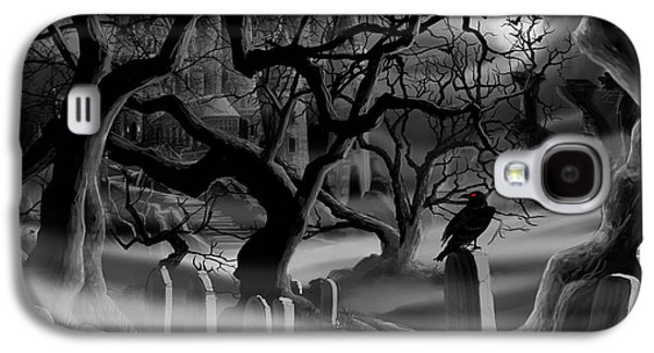 Headstones Paintings Galaxy S4 Cases - Castle Graveyard Galaxy S4 Case by James Christopher Hill