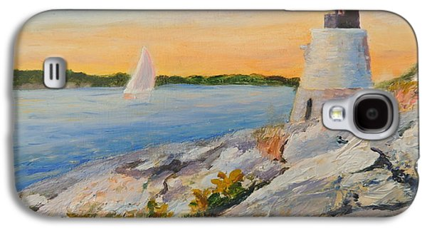 New England Lighthouse Paintings Galaxy S4 Cases - Castle Hill Light House Newport RI Galaxy S4 Case by Patty Kay Hall