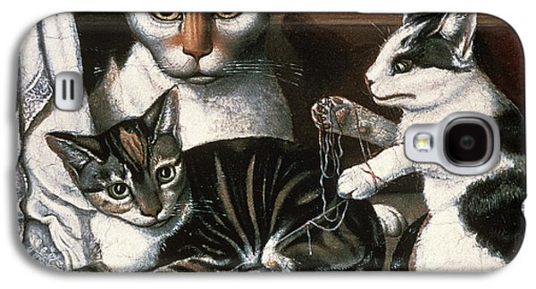 Folk Photographs Galaxy S4 Cases - Cat And Kittens, C.1872-1883 Oil On Millboard Galaxy S4 Case by American School