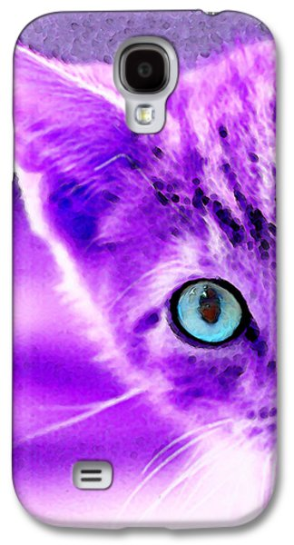 Cats Digital Art Galaxy S4 Cases - Cat Art - Peek A Boo Blue Galaxy S4 Case by Sharon Cummings