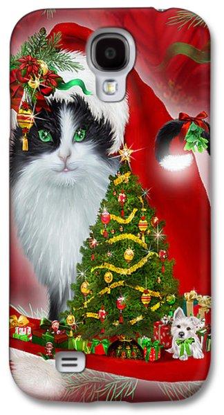 Tree Print Mixed Media Galaxy S4 Cases - Cat In Long Santa Hat Galaxy S4 Case by Carol Cavalaris