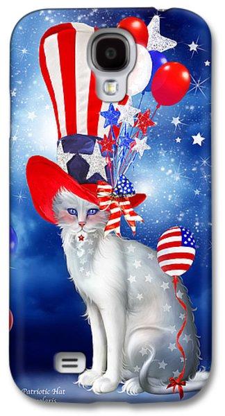 4th July Mixed Media Galaxy S4 Cases - Cat In Patriotic Hat Galaxy S4 Case by Carol Cavalaris