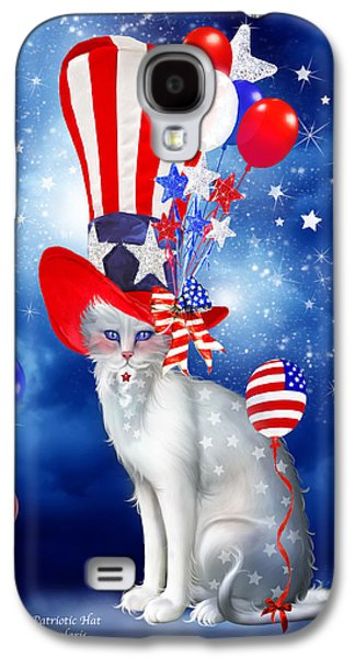Stars And Stripes Mixed Media Galaxy S4 Cases - Cat In Patriotic Hat Galaxy S4 Case by Carol Cavalaris