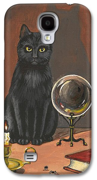 Wicca Paintings Galaxy S4 Cases - Cat Magic Galaxy S4 Case by Margaryta Yermolayeva