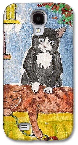 Animation Paintings Galaxy S4 Cases - Cat Massage Galaxy S4 Case by Margaryta Yermolayeva