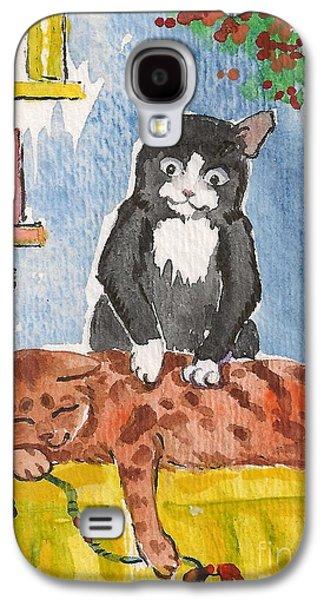 Cat Massage Galaxy S4 Case by Margaryta Yermolayeva