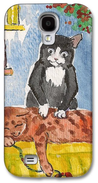 Animation Paintings Galaxy S4 Cases - Cat Massage Galaxy S4 Case by Margaryta Yermolayeva