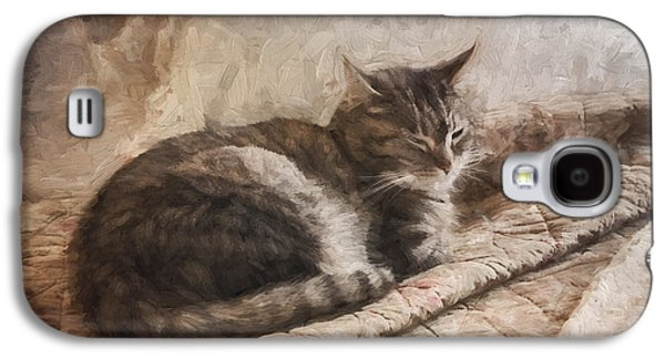 Cats Digital Art Galaxy S4 Cases - Cat on the Bed Painterly Galaxy S4 Case by Carol Leigh