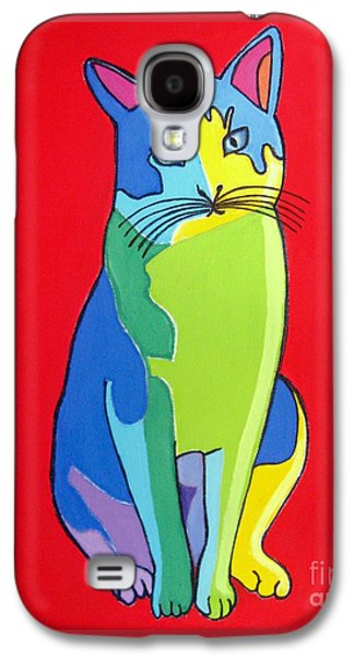 Painter Photo Mixed Media Galaxy S4 Cases - Cat Pop Art Portrait Galaxy S4 Case by Venus