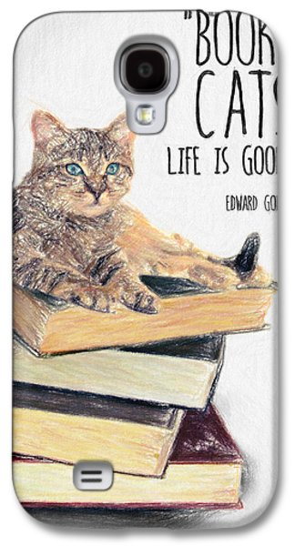 Lounge Drawings Galaxy S4 Cases - Cat Quote By Edward Gorey Galaxy S4 Case by Taylan Soyturk