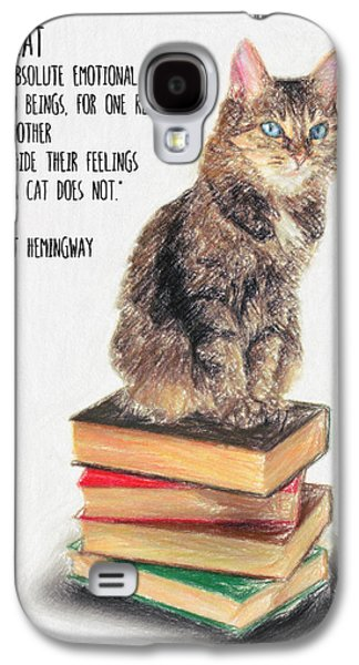 Lounge Drawings Galaxy S4 Cases - Cat Quote by Ernest Hemingway Galaxy S4 Case by Taylan Soyturk