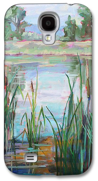 Poudre Galaxy S4 Cases - Cat Tail Pond plein air Galaxy S4 Case by Marie Massey