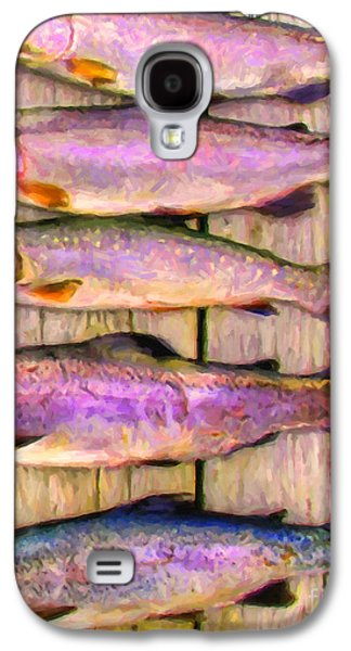 Rainbow Trout Digital Galaxy S4 Cases - Catch of The Day - Painterly - v1 Galaxy S4 Case by Wingsdomain Art and Photography