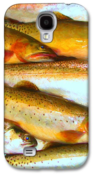 Rainbow Trout Digital Galaxy S4 Cases - Catch of The Day - Painterly - v2 Galaxy S4 Case by Wingsdomain Art and Photography