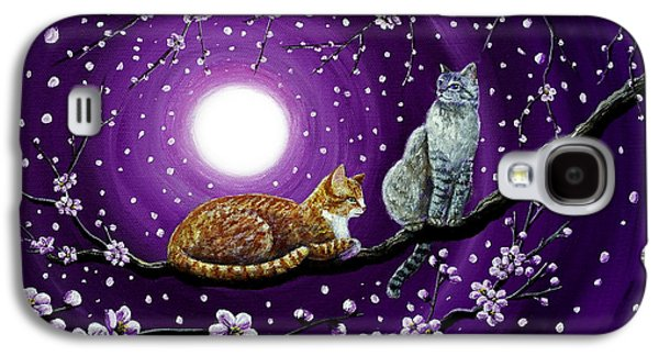 Cherry Blossoms Galaxy S4 Cases - Cats in Dancing Cherry Blossoms Galaxy S4 Case by Laura Iverson