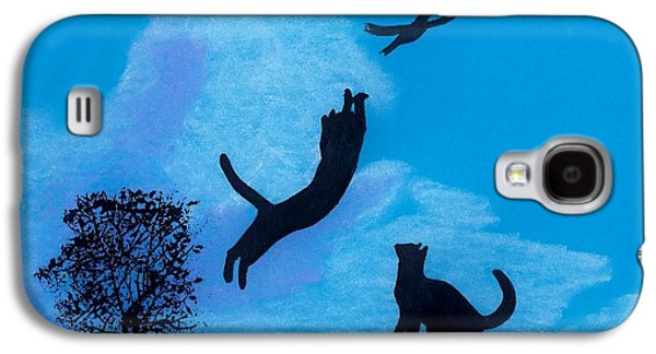 Skylines Pastels Galaxy S4 Cases - Cats -  Playing Galaxy S4 Case by D Hackett