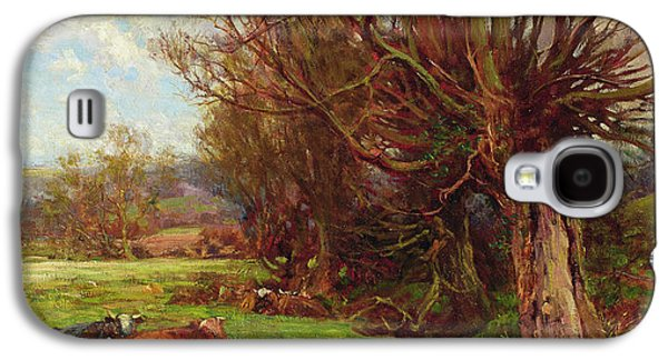 Cows Paintings Galaxy S4 Cases - Cattle grazing Galaxy S4 Case by Charles James Adams