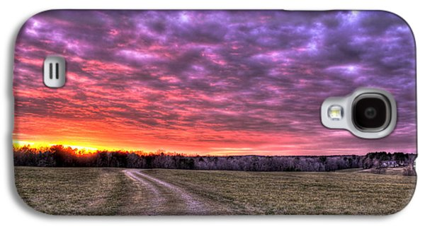 Pastureland Galaxy S4 Cases - Celestial Winter Sunset and The Way Home Galaxy S4 Case by Reid Callaway
