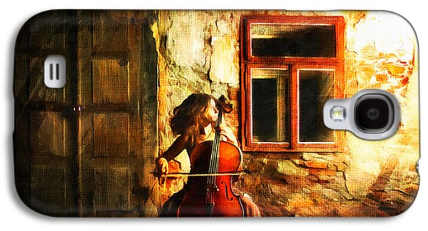 Recently Sold -  - Girl Galaxy S4 Cases - Cellist By Night Galaxy S4 Case by Georgiana Romanovna