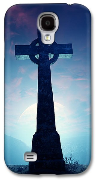 Crest Digital Art Galaxy S4 Cases - Celtic Cross with moon Galaxy S4 Case by Johan Swanepoel