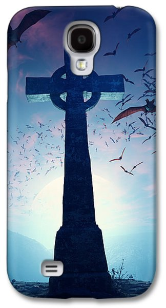 Halloween Digital Art Galaxy S4 Cases - Celtic Cross with swarm of bats Galaxy S4 Case by Johan Swanepoel