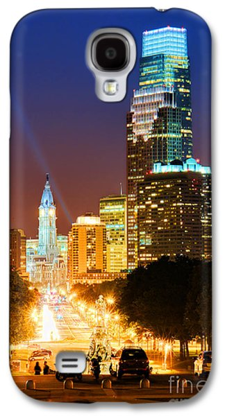 Downtown Franklin Galaxy S4 Cases - Center City Philadelphia Night Galaxy S4 Case by Olivier Le Queinec