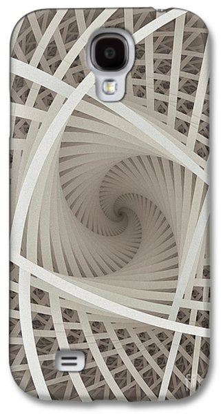 Dimensional Galaxy S4 Cases - Centered White Spiral-Fractal Art Galaxy S4 Case by Karin Kuhlmann