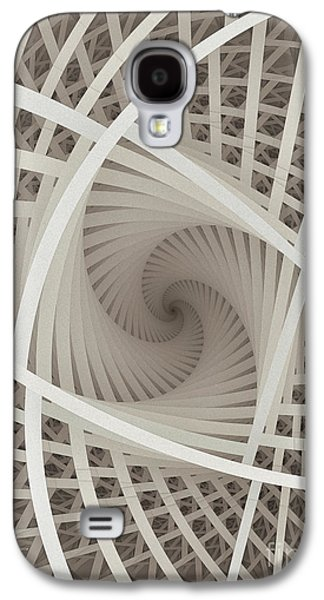 Fractal Image Galaxy S4 Cases - Centered White Spiral-Fractal Art Galaxy S4 Case by Karin Kuhlmann