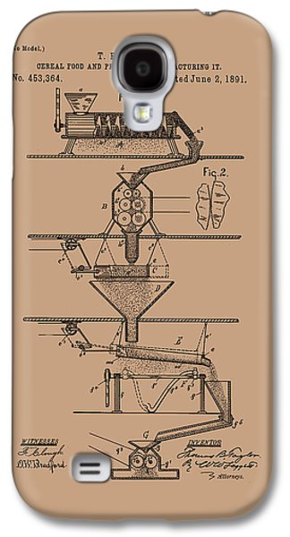 Machinery Drawings Galaxy S4 Cases - Cereal Food Manufacture Patent 1891 Galaxy S4 Case by Mountain Dreams
