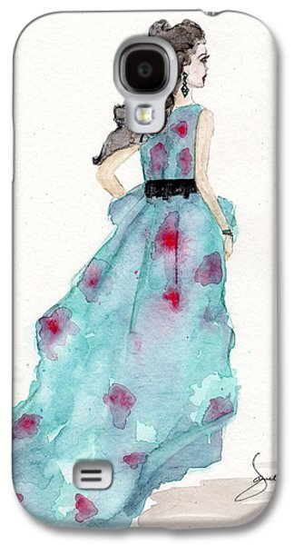 Dressed Galaxy S4 Cases - Cerulean Blue Fashion Sketch Dress Galaxy S4 Case by Janelle Nichol