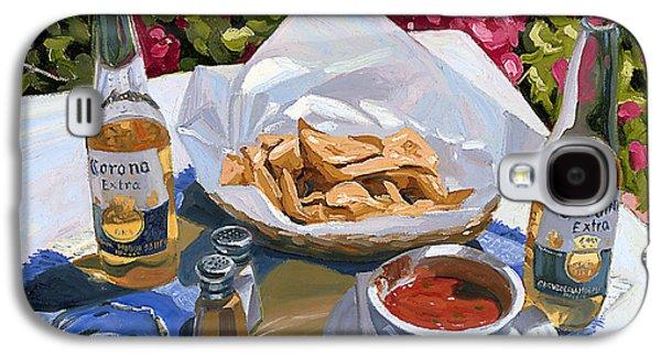 Still Life Paintings Galaxy S4 Cases - Cervezas y Nachos - Coronas with Nachos Galaxy S4 Case by Steve Simon