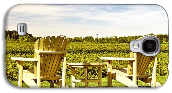 Table Wine Galaxy S4 Cases - Chairs overlooking vineyard Galaxy S4 Case by Elena Elisseeva