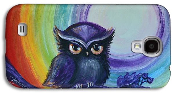 Chakra Rainbow Paintings Galaxy S4 Cases - Chakra Meditation with Owl Galaxy S4 Case by Agata Lindquist